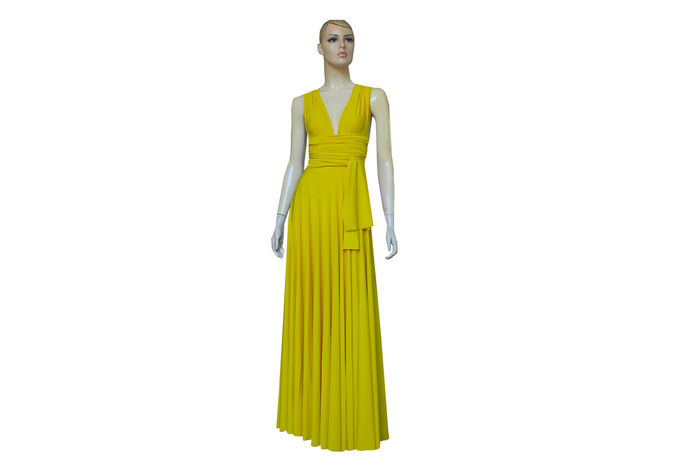 Infinity Dress Yellow Bridesmaid Gown Plus Size Prom Dress Multiway Wedding Gown