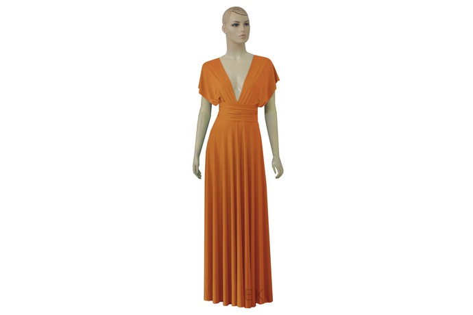 Infinity Dress Orange Bridesmaid Gown Plus Size Prom Dress Multiway Wedding Gown