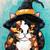 Little Calico Witch Original Halloween Impasto Palette Knife Cat Folk Art