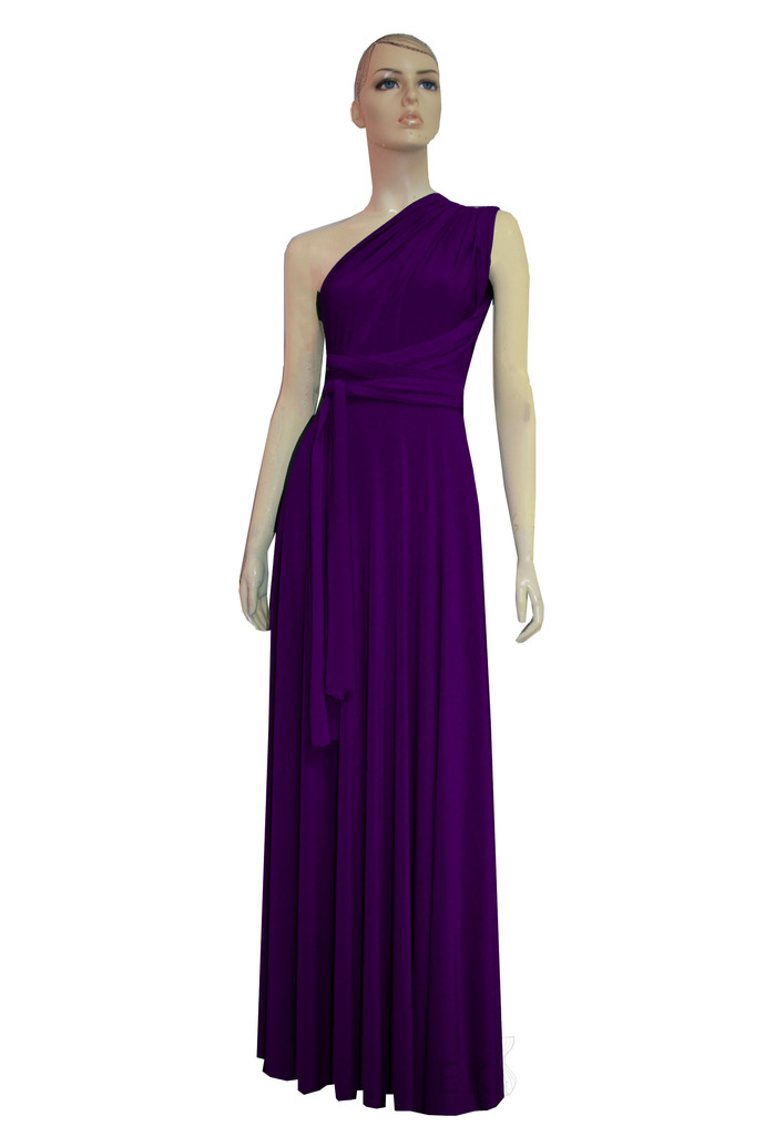 Plum Infinity Dress Purple Bridesmaid Gown Plus Size Prom Dress Multiway Wedding