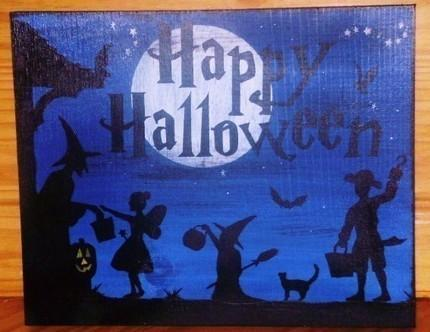 Primitive Happy Halloween sign witches Decorations Signs Harvest Trick or Treat
