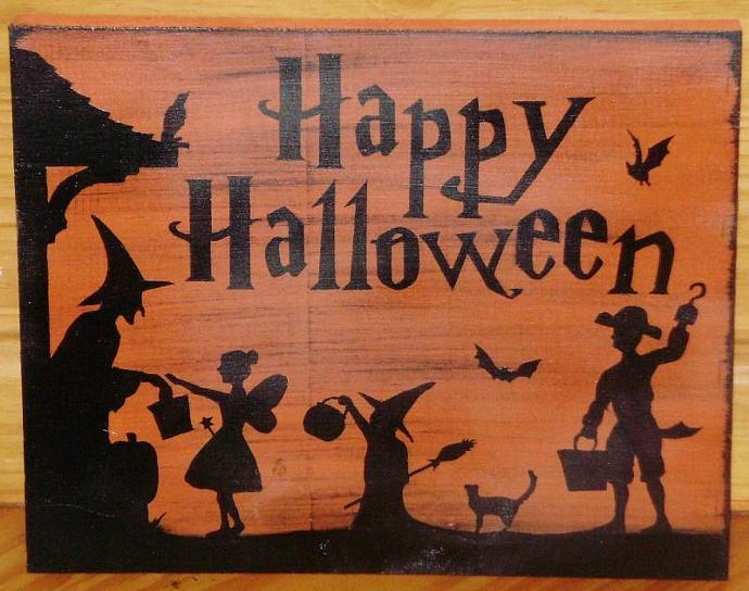 Primitive Happy Halloween decorations Signs witches Folk Art Trick or Treat Sign