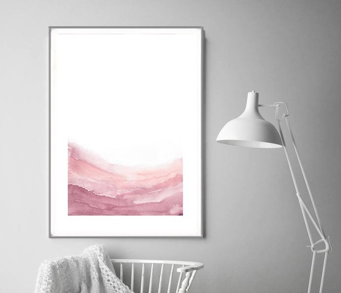 Pink blush landscape wall art, Abstract art print, Modern poster, Wall print,