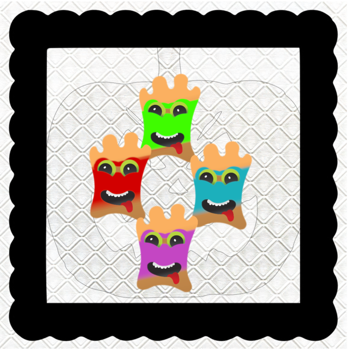 Monsters with Mask-Digital Kit-Jewelry Tag-Clipart-Gift Tag-Holiday-Digital