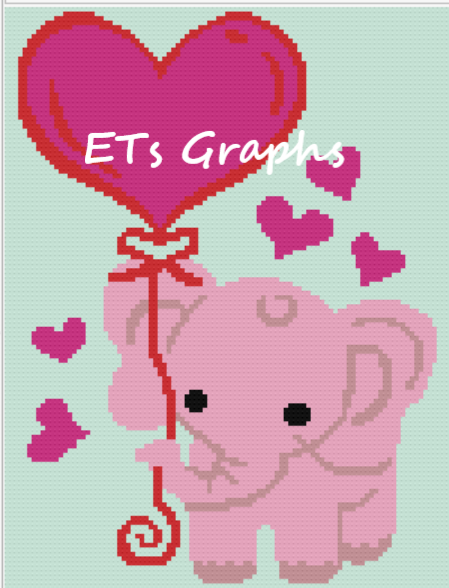 Heart Pink Elephant Mini C2C 100x130 includes graph with written chart