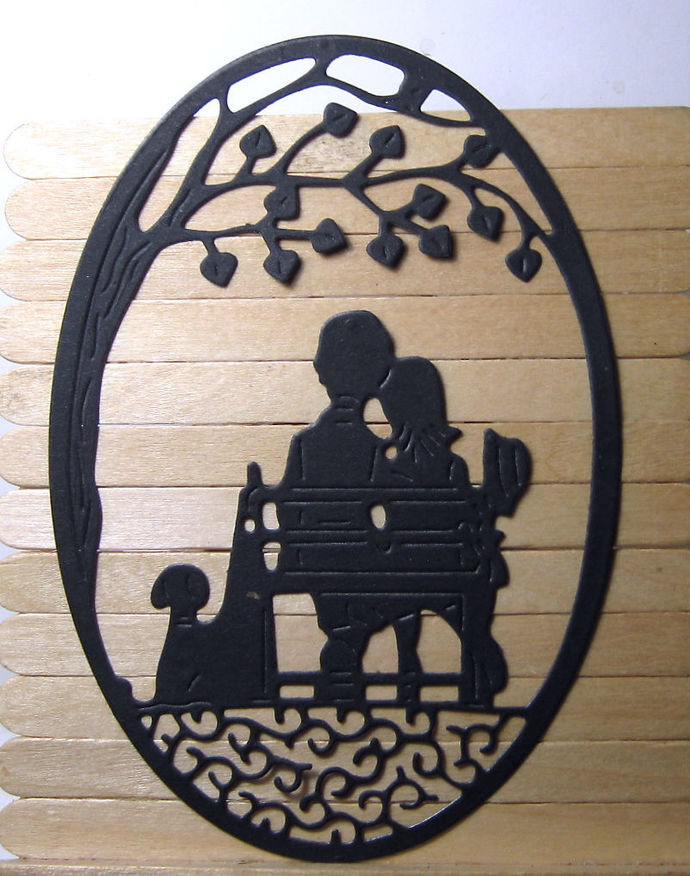 Couple on Bench and Dog under Tree Scene Cutting Die