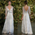 Vintage 2019 Silver Lace Wedding Dresses A Line Plunging V-neck Open Low Back