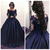 Hot Sale Dark Navy Dresses Evening Wear 2019Appliques Beaded Ball Gown Formal