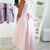 Simple Pink High Low Prom Dresses V-Neck Cap Sleeves A-Line Bow Sash Cocktail
