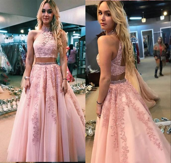 Pink Two Pieces 2019 Evening Dresses Formal Gowns High Neck Lace Keyhole Back A