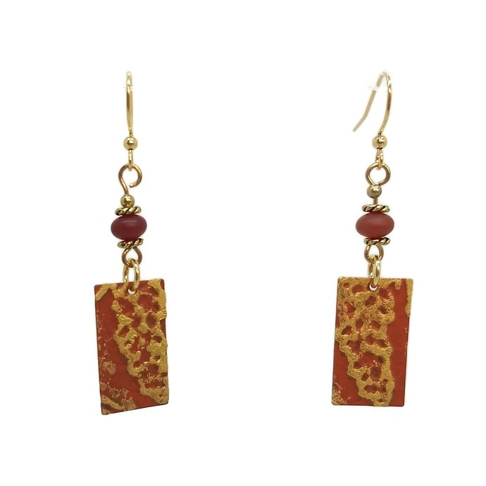 Tangerine Orange Petite Rectangle Dangle Earrings, Gold Plated Nickel Free Ear