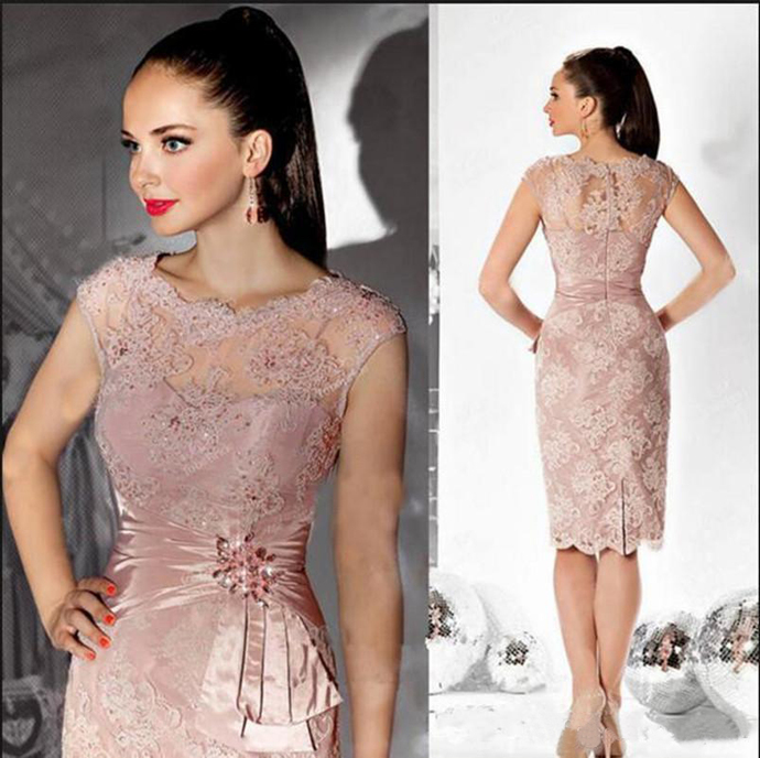 Chic Elegant Short Sheath Mother Of The Bride Dresses Applique Lace Crystal Knee