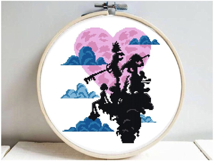 Game inspired silhouette modern cross stitch pattern, nature, forest, easy