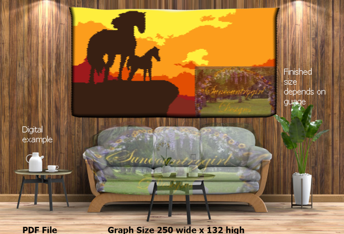 Horses Silhouette at Sunset on Overlook graph, 250 x 132 crochet graphghan