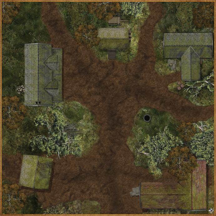 """Battle Mat: Swamp Outpost 36"""" x 36"""""""