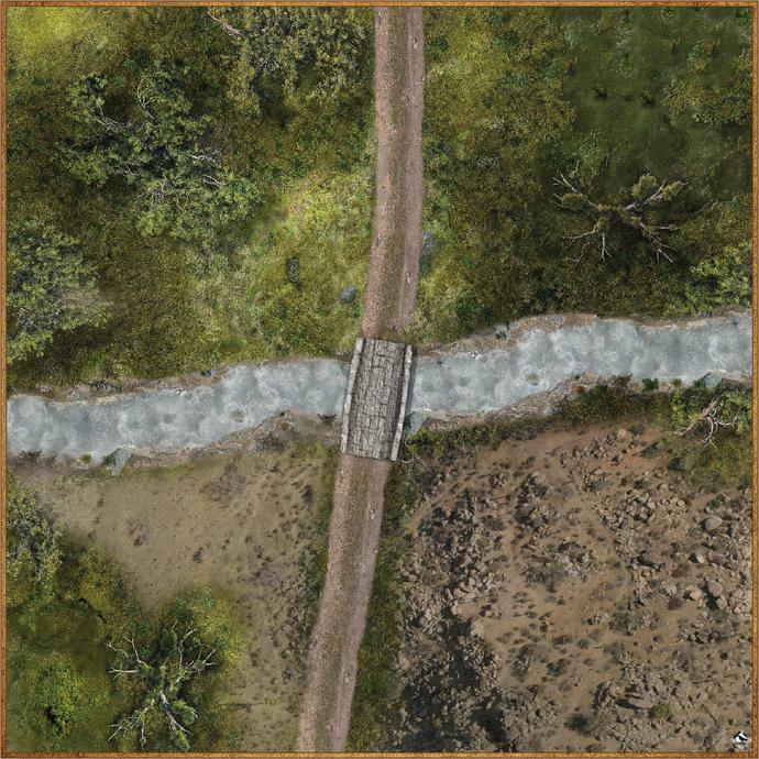 """Battle Mat: River Crossing 1 - 36"""" x 36"""""""