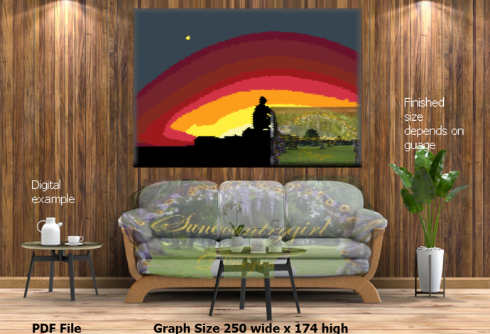 Watching the Sunset (brighter version) graph, 250 x 174 crochet graphghan
