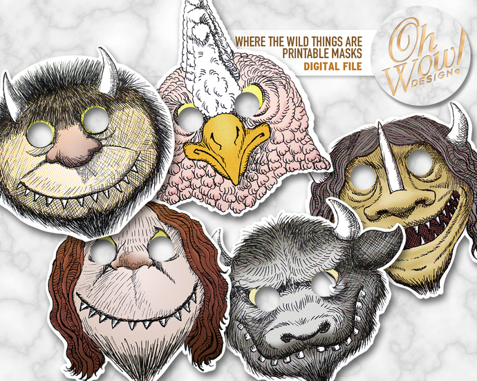 Where the Wild Things Are Printable Mask Set: Digital file
