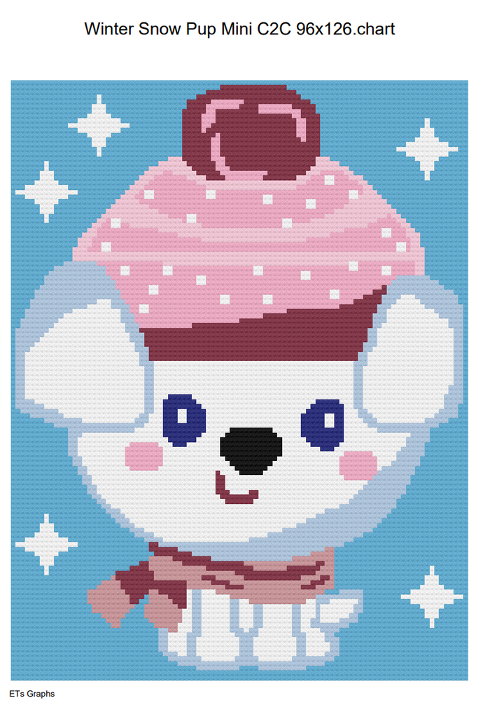 Winter Snow Pup Mini C2C 96x126 Graph with Written Color Chart included