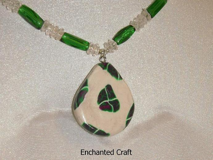 Plum passion polymer clay beaded necklace