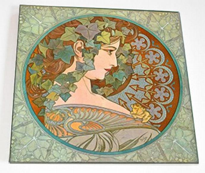 Ceramic Tile 6 inch square - Art Nouveau - Ivy by Alphonse Mucha