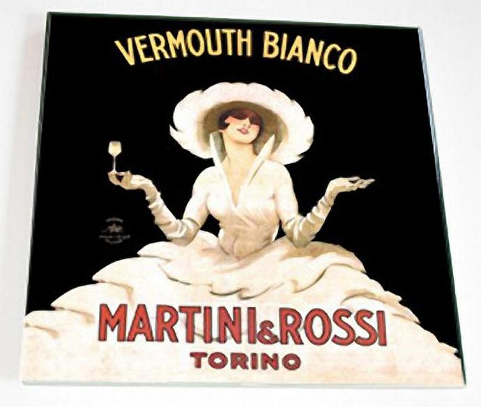 Ceramic Tile 6 inch square - Vintage Martini and Rossi Advertisment