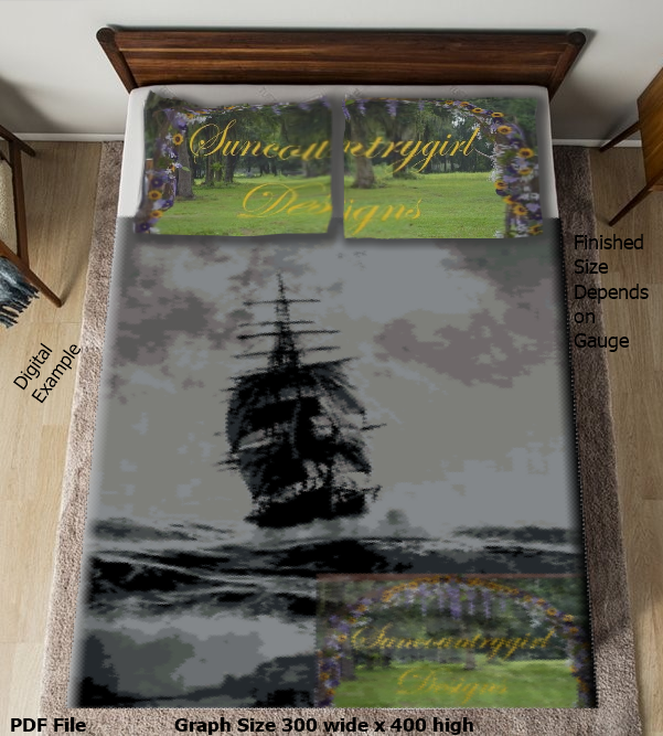Rough Seas graph, 300 x 400 advanced graphghan crochet pattern