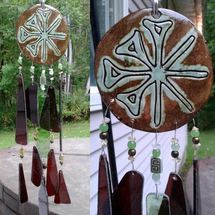 Anu Wind Chime Moss Green Glass Ceramic Mobile Sumerian Cuneiform Garden Decor