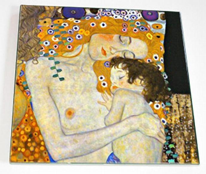 Ceramic Tile 6 inch square - Art Nouveau - Mother and Child by Gustav Klimt