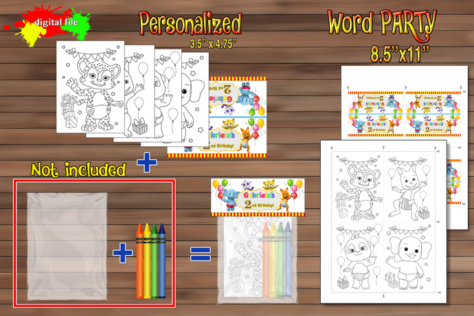 Word Party Birthday Party favor, Word Party set mini coloring pages for favor