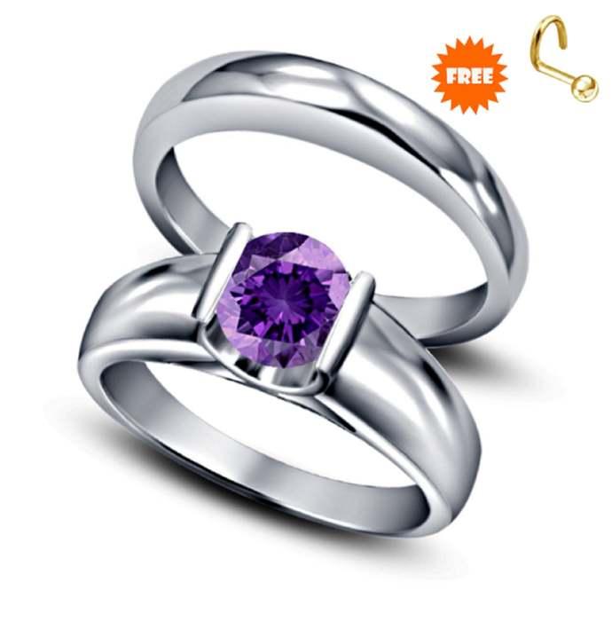 sterling silver ring February purple gemstone birthstone ring round cut amethyst
