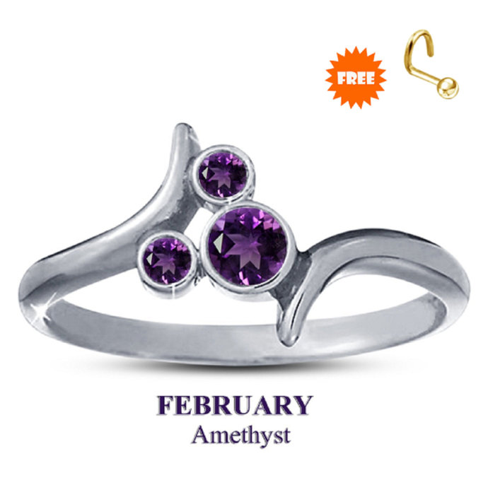 10K White Gold Finish  February Amethyst Birthstone Ring 925 Sterling Silver