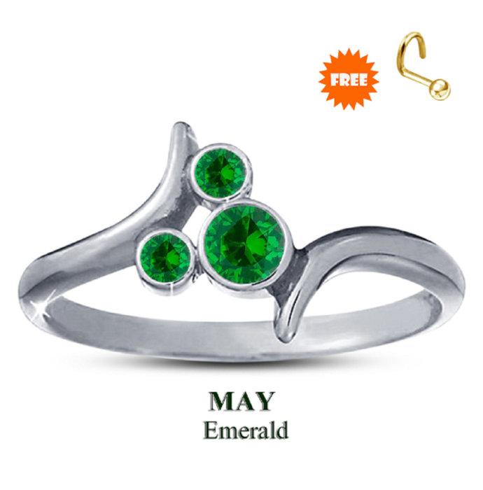 10K White Gold Finish Green Emerald Disney May Birthstone Ring 925 Sterling
