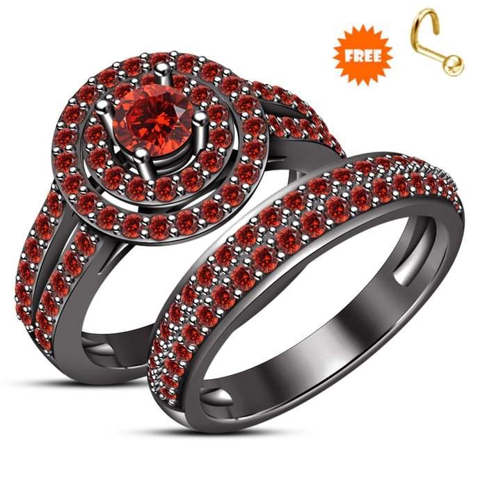 Red Garnet Bridal Set 925 Sterling Silver Ladies Engagement Ring Wedding Band