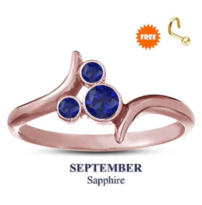 14k Rose Gold Plating Blue Sapphire Disney September Birthstone Ring 925