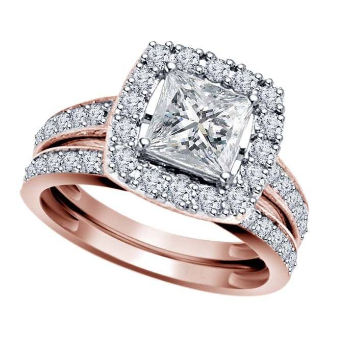 Solid 14K Rose Gold Finish Real 925 Silver White Diamond Engagement Wedding