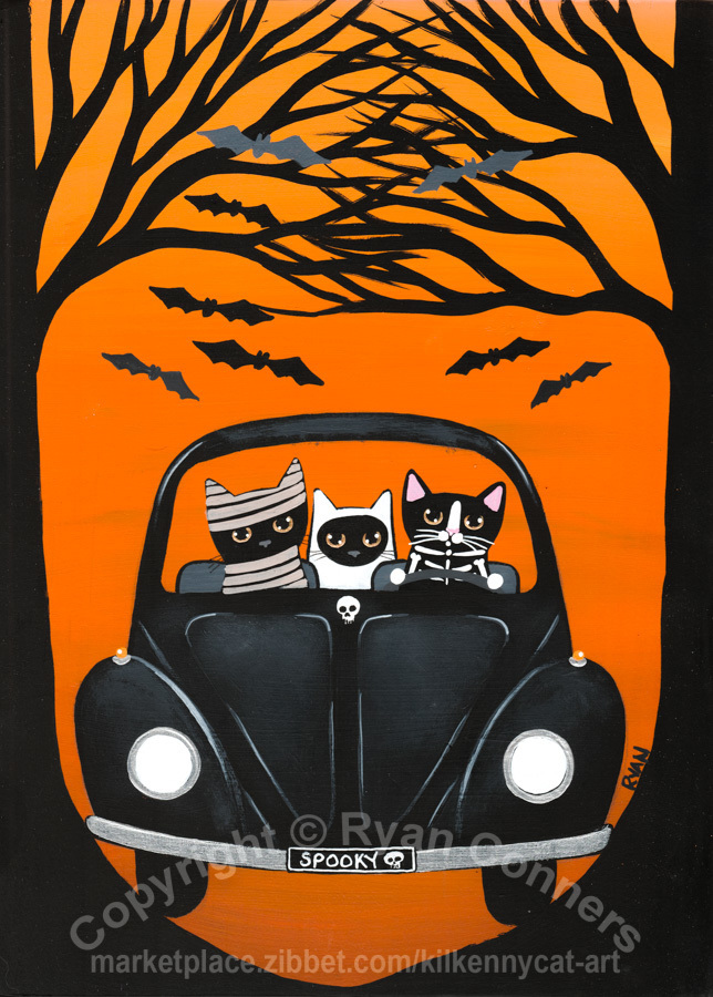 A Spooky Drive in the Woods Original Cat Folk Art Painting