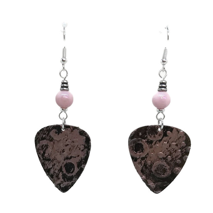Blush Pink & Black Guitar Pick Earrings, Unique One of a Kind, Silver Plated