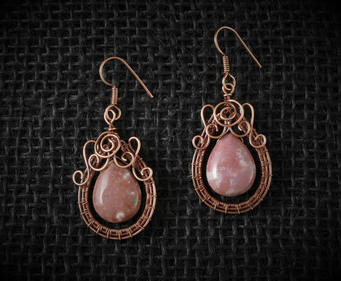Jasper Copper Earrings; 5 Swirl Woven Wire Wrapped Earrings (E108)