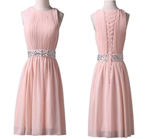 Pink Scoop Neck Sleeveless Chiffon Homecoming Dresses Short Cocktail Dresses,237