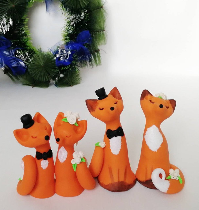 Fox cake topper wedding,Animal polymer clay cute cake topper Fox love custom