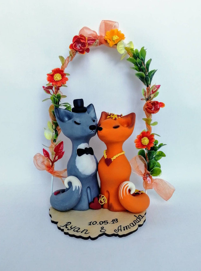 Autumn Fox Wedding cake topper Fall woodland wedding Silver and red fox topper