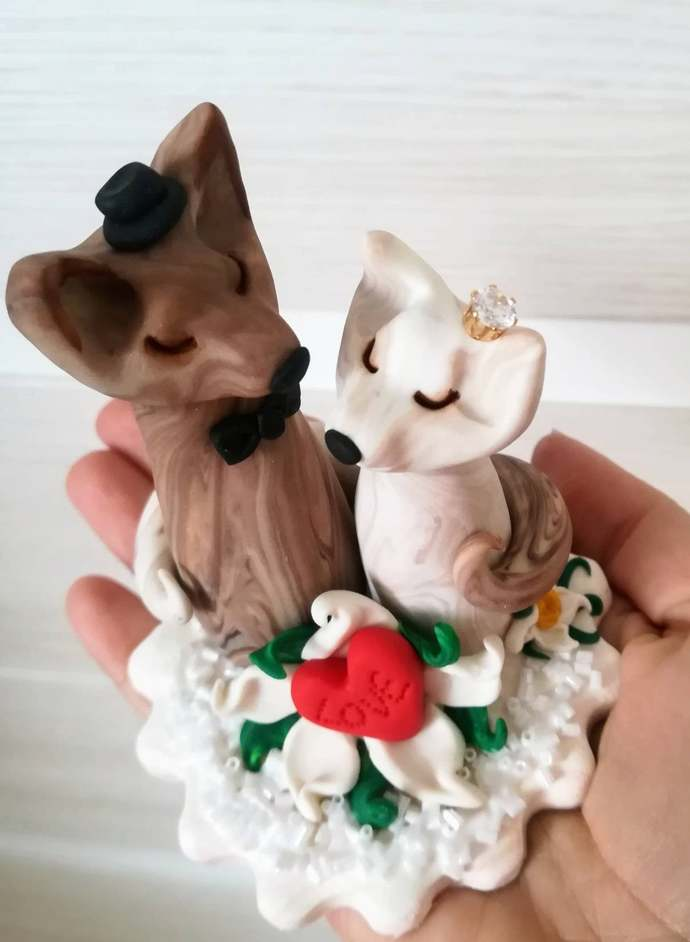 Wolf cake topper wedding, polymer clay couple of wolves, love animal cake