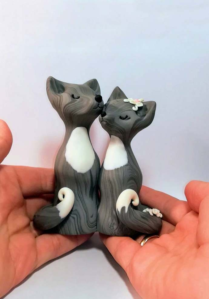 Wolf cake topper wedding figurine, wolves love clay cake topper, couple of