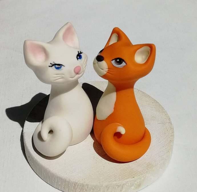Cat cake topper wedding Aristocats wedding cake topper Small clay animal cake