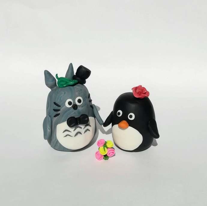 Totoro wedding cake topper Penguin cake topper bird cake topper  Woodland animal