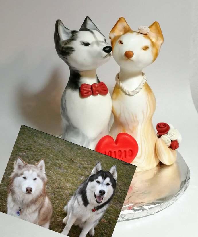 Husky cake topper wedding Pet cake topper Dogs on the cake Siberian Husky cute