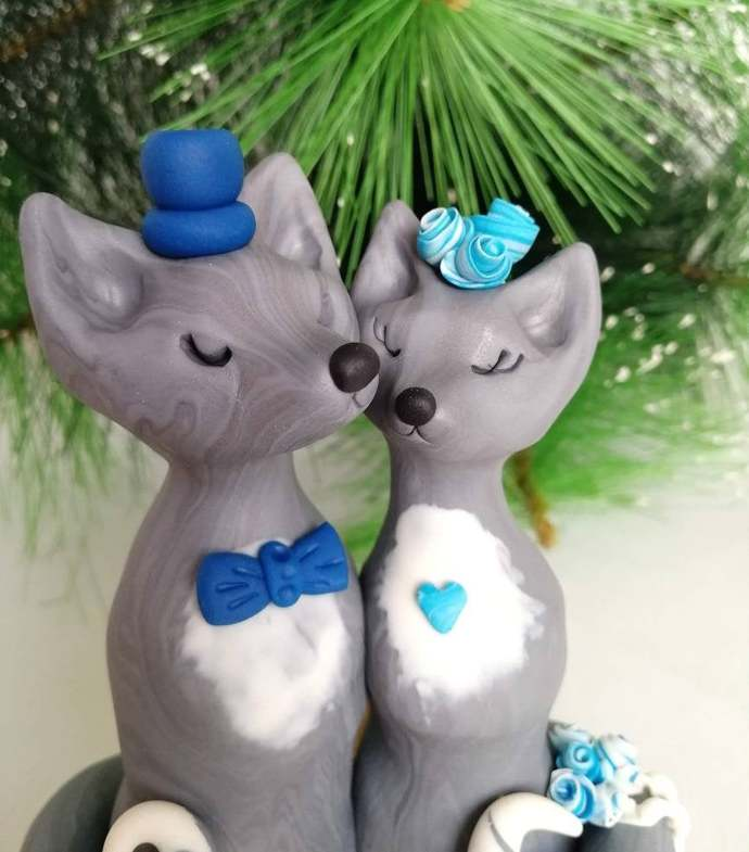 Wolf cake topper wedding Silver clay couple of wolves in love Animal cake topper