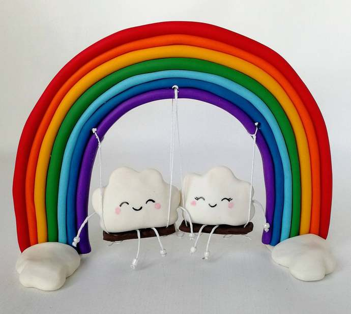 Clouds on rainbow cake topper wedding Cute cake topper Kawaii unique clouds cake