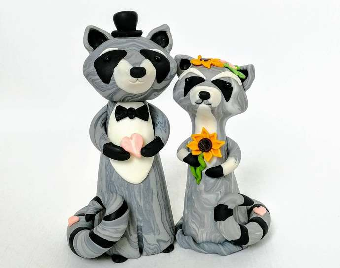 Racoon Wedding Cake Topper with Pumpkin & Sunflowers Custom Animal Rustic cake